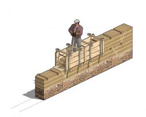 Principe de construction d'un mur en pisé (© CRAterre-Arnaud Misse).