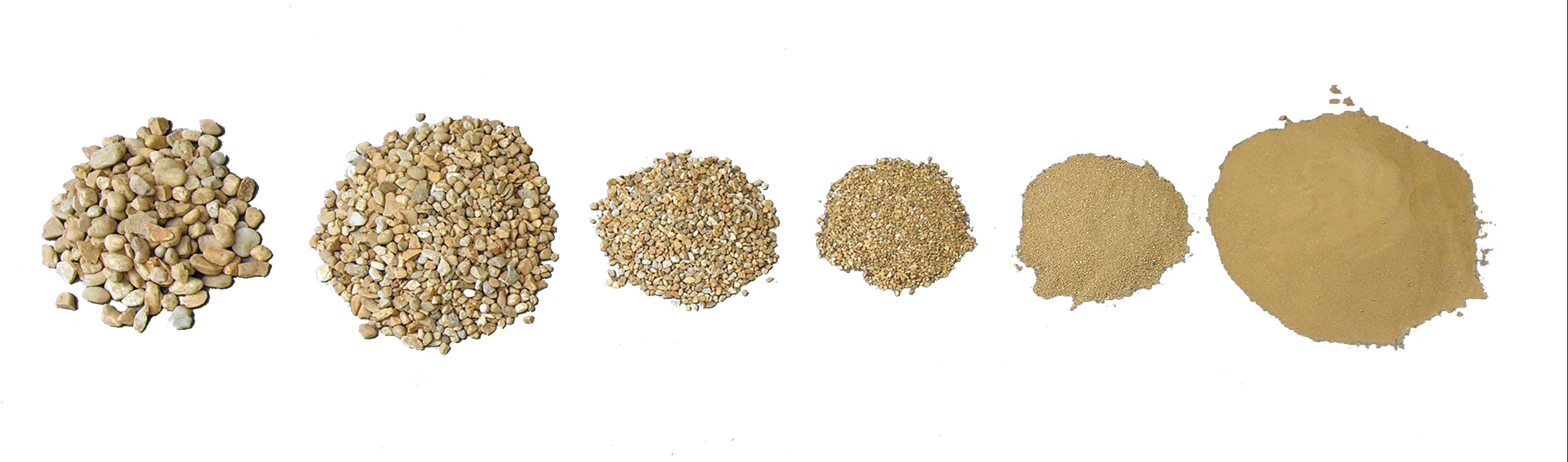Granulométrie d'une terre à pisé montrant la proportion et la taille des différents grains qui la composent (© CRAterre-Arnaud Misse).